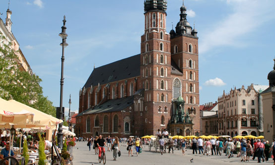 St. Mary's Basilica dominates the medieval square in the middle of Kraków.