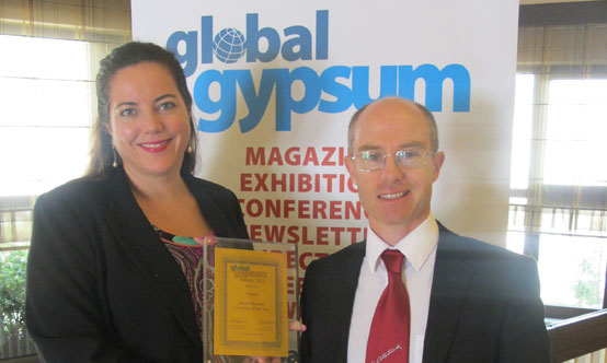 Isabel Knauf accepting Global Gypsum Company of the Year for Knauf Gips KG at Global Gypsum Awards 2012